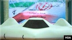 Foto yang dipublikasikan oleh pasukan pengawal revolusi Iran (11/12)menunjukkan pesawat tak berawak AS RQ-170, yang berhasil 'dipaksa mendarat' oleh Iran.