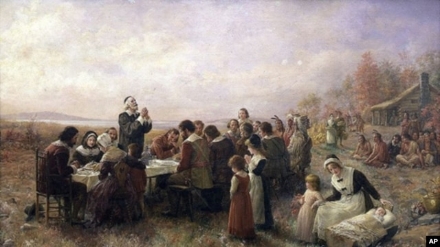 'The First Thanksgiving at Plymouth' (Jennie A. Brownscombe, 1914) shows well-dressed, prayerful Pilgrims and Indians, a depiction experts say is far from accurate.