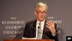 Jerome Powell habló en el Club Económico de Chicago el viernes 6 de abril de 2018.
