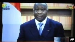 Rais Laurent Gbagbo wakati alipolihutubia taifa na kusisitiza kuwa ni rais halali nchini humo, 21 Dec 2010