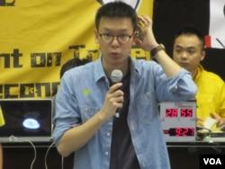 反两岸服贸协议学生领袖林飞帆(美国之音张永泰 拍摄)