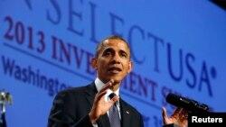 """Presiden Obama memberikan sambutan dalam Pertemuan Puncak Investasi """"SelectUSA 2013"""" di Washington (31/10)."""