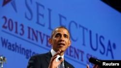 美国总统奥巴马2013年10月31日在华盛顿举行的投资峰会上发表讲话