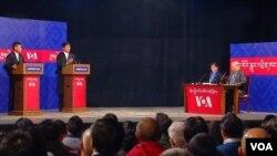 (L to R) Candidates Penpa Tsering and Lobsang Sangay with moderators Tenzin Sangmo and Namgyal Shastri.