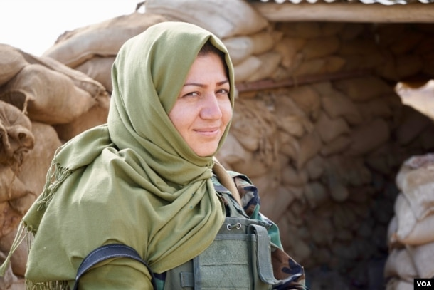 Aween, 29, an Iranian Azeri, says she fights for Kurdistan because it is inclusive of minorities. Nov. 2, 2016. (J. Dettmer/VOA)
