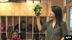 """Hana Čen koristi spanać kao nastavno sredstvo za vreme časa matematike u trećem razredu osnovne """"čarter"""" škole E.W. Stouks"""