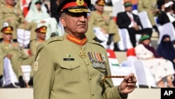 "Pakistani Army Chief Gen. Qamar Javed Bajwa, seen in this Nov. 2016 photo, told Afghan President Ashraf Ghani on Sunday that his troops have eliminated ""all safe havens"" of terrorists on Pakistani soil."
