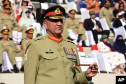 "FILE - Pakistani Army Chief Gen. Qamar Javed Bajwa, seen in this Nov. 2016 photo, told Afghan President Ashraf Ghani on Sunday that his troops have eliminated ""all safe havens"" of terrorists on Pakistani soil."