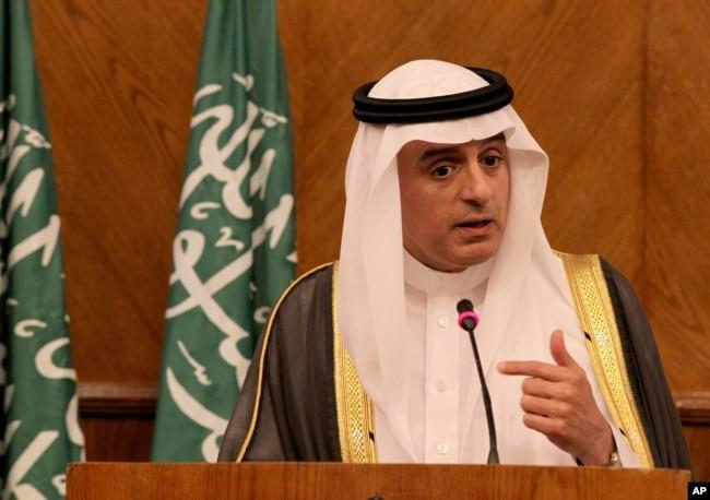 FILE - Saudi Foreign Minister Adel al-Jubeir speaks during a press conference in Amman, Jordan July 9, 2015.