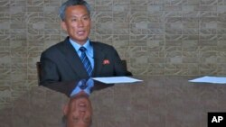 FILE - Paek Chang Ho, Vice Director of the Scientific Research and Development Department of North Korea's National Aerospace Development Administration, talks during an interview in Pyongyang, North Korea, May 28, 2015.