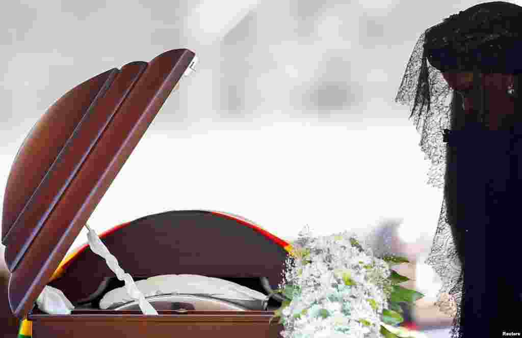 Former first lady Grace Mugabe pays her last respects during a state funeral of her husband and Zimbabwe's longtime ruler Robert Mugabe, at the national sports stadium in Harare, Sept. 14, 2019.