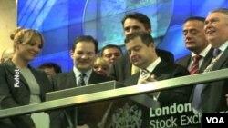 Srpski premijer Ivica Dačić otvorio Londonsku berzu, 29. oktobar 2013. (Foto: FoNet)