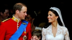 Prince William and Kate, Duchess of Cambridge, appear after the wedding