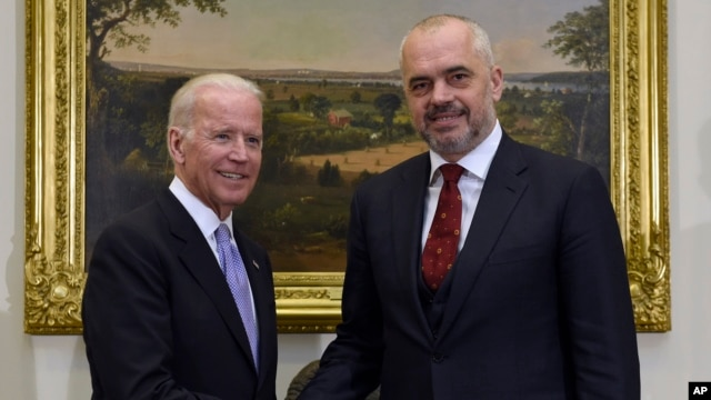 Vice President Joe Biden shakes hands with Albanian Prime Minister Edi Rama in the Roosevelt Room of the White House in Washington, April 14, 2016.