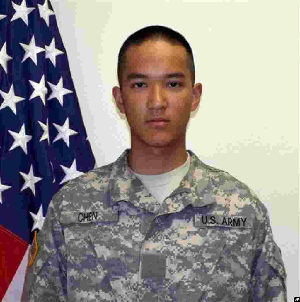This undated photo provided by the U.S. Army shows Pvt. Danny Chen who was killed Monday, Oct. 3, 2011. Chen, 19, died in Kandahar, Afghanistan. Chen was assigned to the 3rd Battalion, 21st Infantry Regiment, 1st Stryker Brigade Combat Team, 25th Infantry Division at Fort Wainwright. (AP Photo/U.S. Army)