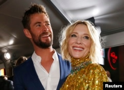 "Actors Chris Helmsworth and Cate Blanchett at the world premiere of ""Thor: Ragnarok,"" Los Angeles, California, Oct. 10, 2017."