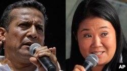 P秘魯總統決選侯選人胡馬拉(左)與藤森慶子(右)