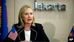 Ngoại trưởng Mỹ Hillary Rodham Clinton phát biểu tại cuộc họp ở Jakarta, Indonesia, ngày 4/9/2012