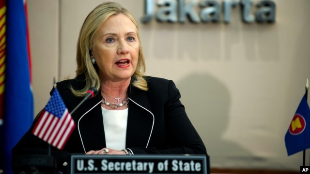 U.S. Secretary of State Hillary Rodham Clinton delivers remarks during a meeting at the ASEAN Secretariat in Jakarta, Indonesia, September 4, 2012.
