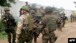 Des soldats de l'EUFOR RCA à Bangui, en RCA (AFP)