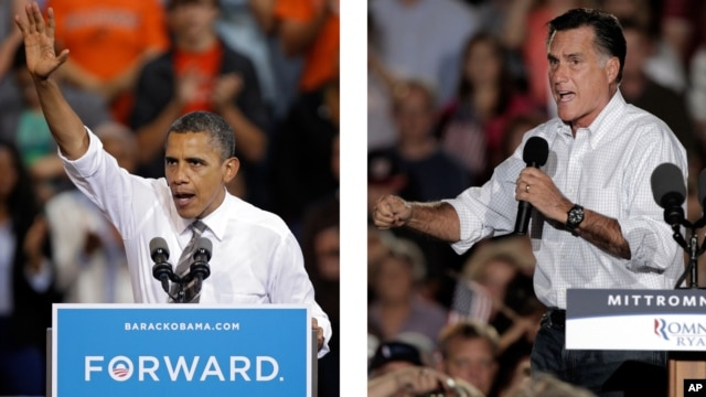 In these Sept. 26, 2012 photos, President Barack Obama and Republican presidential candidate Mitt Romney campaign in the battleground state of Ohio.
