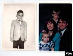 From left: William Tegard as a young child; daughter Rachel, wife Andrea, son Josh and William years before transitioning to Marsha. (Images courtesy of Tegard family)