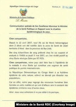 Déclaration du ministre de la santé Oly Ilunga Kalenga, 12 mai 2017.