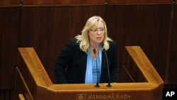 Slovakia's Prime Minister Iveta Radicova holds a speech during a Parliament session during which the lawmakers will vote on the approval for more money for the EU bailout fund in Bratislava, Slovakia, October 11, 2011.