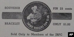 Here's an old advertisement for Jimmie Rodgers Fan Club souvenirs.