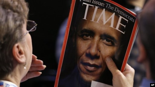 A 2008 issue of Time magazine features then-Senator Obama, Democratic National Convention, Denver, Aug. 25, 2008.
