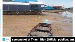 Biển Hồ cạn nước do dòng Mekong bị ảnh hưởng bởi biến đổi khí hậu và các đập trên thượng nguồn