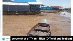 Biển Hồ cạn nước do dòng Mekong bị ảnh hưởng bởi biến đổi khí hậu và các đập trên thượng nguồn.