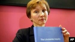 Marina Litvinenko, janda mantan agen dinas rahasia Soviet (KGB) Alexander Litvinenko dalam konferensi pers di London (21/1).