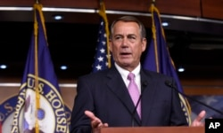 FILE - House Speaker John Boehner of Ohio speaks during a news conference on Capitol Hill in Washington.