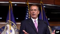 "FILE - House Speaker John Boehner of Ohio, shown at a July news conference in Washington, says the District of Columbia school voucher program ""has truly made a difference."""
