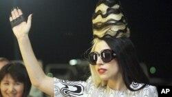 Lady Gaga at the Taoyuan International Airport, northern Taiwan, July 1, 2011.