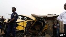 Police ezali kobatela esika likama ya motuka monene na nzela ya By-Pass na Mont-NGafula, Kinshasa, 16 février 2020.