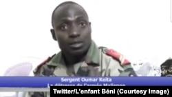 Le sergent Oumar Keïta de l'armée malienne parle dans une vidéo diffusée sur les réseaux sociaux, 24 janvier 2018. (Twitter/L'enfant Béni)
