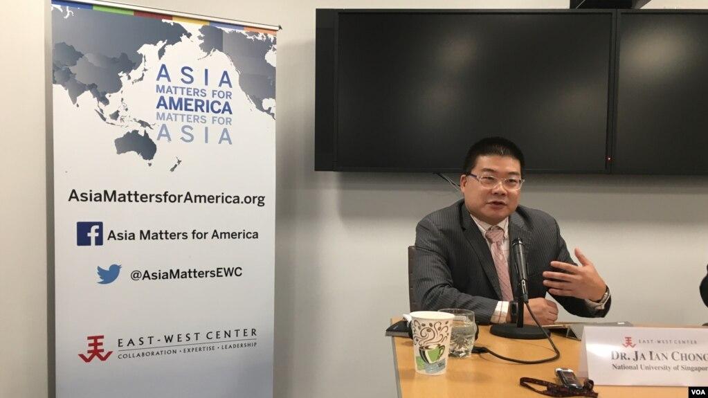 新加坡國立大學政治系助理教授莊嘉穎(美國之音鐘辰芳拍攝)