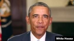 美國總統奧巴馬在每週例行講話論述氣候變化