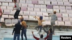 Des échauffourées ont eu lieu à la fin du match PSG et Club africain au stade de Tunis, en Tunisie, le 4 janvier 2017.
