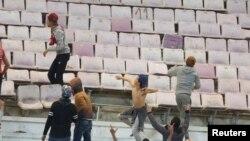 Des échauffourées ont eu lieu lors d'un match du Club africain au stade de Tunis, Tunisie, le 4 janvier 2017.