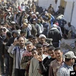 位於突尼斯與利比亞邊境地區的難民