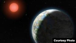 Planet yang diselimuti awan dan air di permukaan mengorbit bintang merah kerdil pada sistem tatasurya Gliese 581.