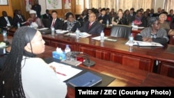 FILE: Priscilla Chigumba, Chief Electoral Commission (ZEC) meeting with diplomats in Harare, Zimbabwe, July 19, 2018. (Twitter / ZEC)