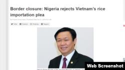 Báo Daily Trust đăng bài: Nigeria từ chối lời đề nghị của Phó Thủ tướng Vương Đình Huệ, 31/10/2019. Photo Daily Trust.