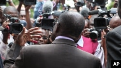 Zimbabwean President Robert Mugabe talks to the press after casting his vote during the country's referendum in the capital Harare, March, 16, 2013.