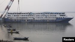 The Eastern Star, the cruise ship which went down in the Jianli section of the Yangtze River in June, is seen in Jianli, Hubei province, Dec. 30, 2015.