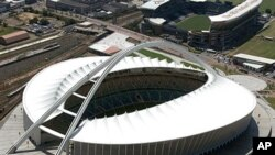 Aerial view shows the Moses-Mabhida stadium in Durban, South Africa, ahead of the 2010 Football World Cup, 15 Feb 2010