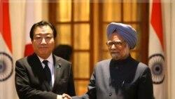یوشی هیکو نودا نخست وزیر ژاپن و مان هومان سینگ نخست وزیر هند در دهلی نو، هند. ۷ دی ماه ۱۳۹۰ (۲۸ دسامبر ۲۰۱۱)